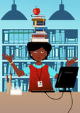 Librarian with books on her head. Cute African-American woman librarian balancing a stuck a book on her head in a library at her desk, illustration vector illustration