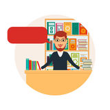 Librarian or bookseller at workplace. Royalty Free Stock Image