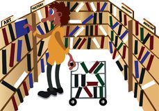 Librarian checking on his books. A librarian arranges books on the shelves by using catalogue royalty free illustration