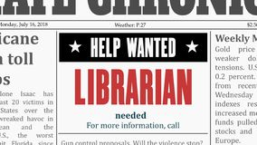 Librarian job offer. University career. Newspaper classified ad in fake generic newspaper stock illustration