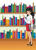 A librarian near the bookshelves. Illustration of a librarian near the bookshelves vector illustration