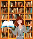 Librarian. With an open book on background bookshelf stock illustration