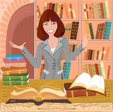 Librarian with an open book. On background bookshelf royalty free illustration