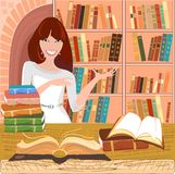 Librarian with an open book Stock Images