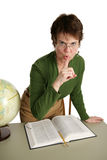 Librarian - QUIET!. An angry librarian telling you to be quiet. Isolated on white royalty free stock image