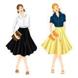 Librarian in sixty style clothes hold book Stock Images