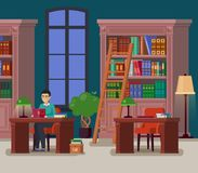 Librarian or student at library or athenaeum. Education library with books or university athenaeum with bookshelves and stairs, atheneum with man librarian or royalty free illustration