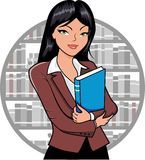 Librarian. Vector illustration of a Librarian holding a book royalty free illustration