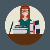 Librarian woman with books. Flat Stock Photo