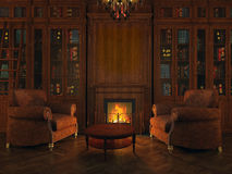 Libraries around the fireplace Royalty Free Stock Images