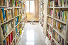 Libraries bright windows and shelves Shaoxing city Royalty Free Stock Photography