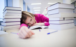In the library. Very tired/exhausted, pretty, female student with books working in a high school library (color toned image Stock Image