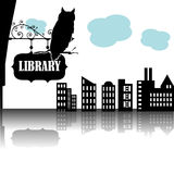 Library. Abstract colorful illustration with owl standing on a black plate on which is written the word library Royalty Free Stock Images