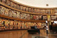 Library. City library in Stockholm, Sweden, known for its circular wall of books Stock Photography