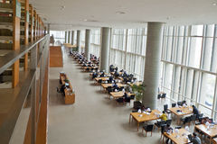 The library. A library is newly open in Pudong District,Shanghai,China,in 2012. The inner space is very spacious and comfortable. Many people come to the library Royalty Free Stock Image