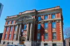 Library. A Public Library located at a busy street of Montreal Stock Photo