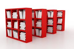 Library. Shelvings in a library with books. 3d model vector illustration