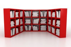 Library. Shelvings in a library with books. 3d model stock illustration