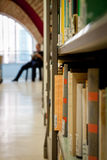 Library aisle close-up Stock Photo