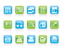 Library And Books Icons Stock Photos