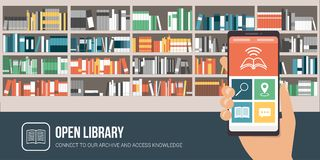 Library app on a smartphone. And bookshelves on the background with colorful books stock illustration