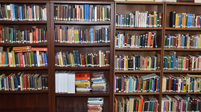 Library background filled with  books Stock Image