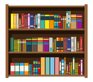 Library book shelf. Bookcase with different books. Library wooden book shelf. Bookcase with different books. Vector illustration in flat style vector illustration