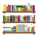Library book shelf. Bookcase with different books. Library wooden book shelf. Bookcase with different books. Vector illustration in flat style stock illustration