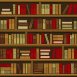 Library Book Shelf Seamless Background. Vector Stock Image