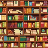 Library book shelf seamless vector pattern of literature books. Library book shelf seamless pattern of literature books color covers and magazines on retro royalty free illustration