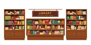 Library book shelves wooden furniture education and knowledge. Education and knowledge library book shelves wooden furniture vector bookcase textbooks and novel royalty free illustration