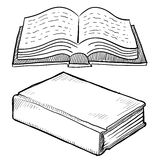 Library book sketch. Doodle style book or library vector illustration Stock Photos