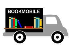 Library Bookmobile. Clipart of bookmobile with colorful books on shelf Stock Illustration