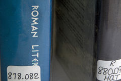 Library books with dewey decimal numbers. stock photography