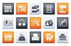 Library and books Icons over color background. Vector icon set royalty free illustration