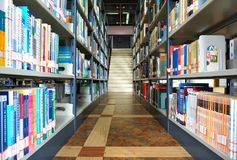 Library and books. In the image, there is some books in a library Royalty Free Stock Photos