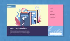 Library books and readers web page template reading online. Reading online web page template library books and readers vector literature archive education and stock illustration