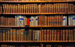 Library books. A shelve of old library books Stock Photography