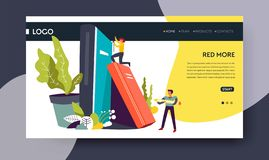 Library books storage reading online web page template royalty free illustration