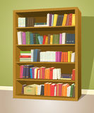 Library Bookshelf. Illustration of a cartoon home or school wooden bookshelf inside library store with Stock Image