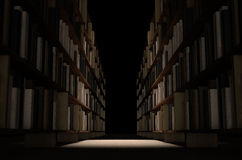 Library Bookshelf Aisle. A direct top view of a row of a library bookshelf in a carpeted aisle dramatically lit by a single spotlight royalty free stock images
