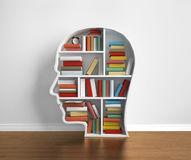 Library. Bookshelf head with  many book in library Royalty Free Stock Photography