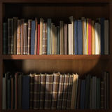 Library bookshelf with heart shape light beam Royalty Free Stock Photography