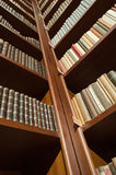 Library bookshelf low angle - diagonal view Royalty Free Stock Photo