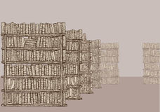 Library with bookshelves Royalty Free Stock Images
