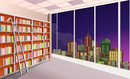 Library bookshelves interior. Vector illustration of a shelving bookshelf on the wall in the great hall in the library of the panoramic window at the city vector illustration