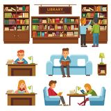 Library books and people reading in bookshop vector flat design Stock Images