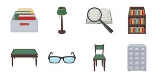 Library and bookstore icons in set collection for design. Royalty Free Stock Images