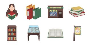 Library and bookstore icons in set collection for design. Books and furnishings vector symbol stock web illustration. Stock Photo