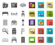 Library and bookstore mono,flat icons in set collection for design. Books and furnishings vector symbol stock web. Library and bookstore mono,flat icons in set stock illustration